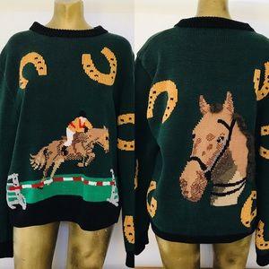Vintage 80s BEREK Equestrian HORSE SWEATER Medium